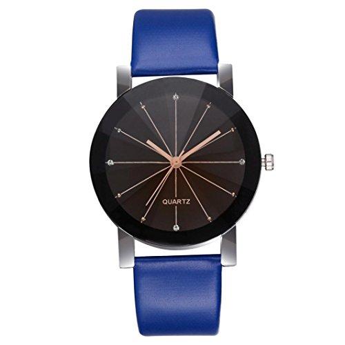 ManxiVoo Clearance Men Women Quartz Dial Clock Leather Wrist Watch Round Case Wristwatch Casual Wristwatch (Blue 2) ()