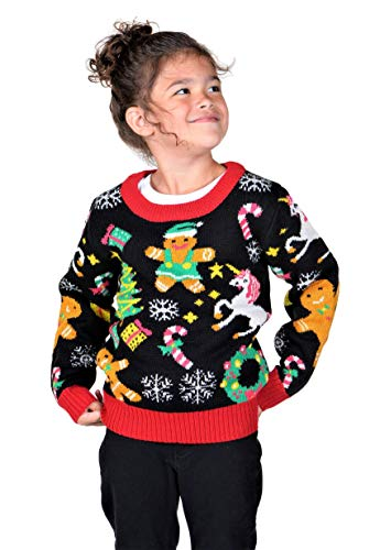 KESIS Children Gingerbread Unicorn Wreath Ugly Christmas Sweater 2Y
