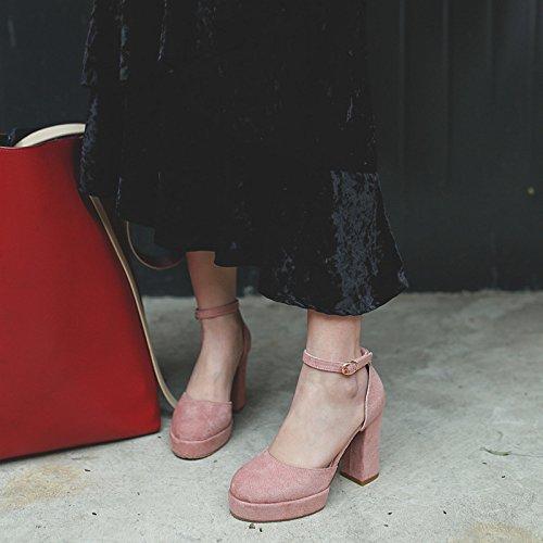 Versión Zapatos Alto Gruesa Pink Tacón Impermeables Mujer Ronda Muyii Hebilla Sandalias De Verano Nueva Con La t6wdqdg
