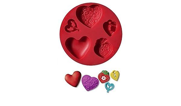 Molde de silicona diámetro 7 cm. Fimo Staedtler Tema Color Corazones (5 diseños): Amazon.es: Hogar