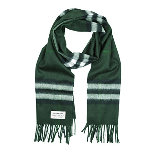 Burberry Women's Classic Check Cashmere Scarf (One Size, Dark Forest Green) by BURBERRY