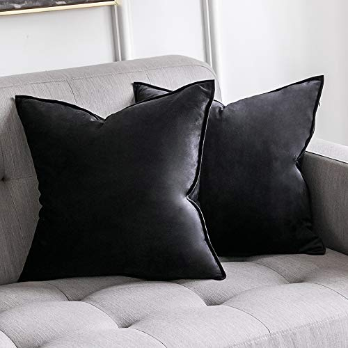 MIULEE Pack of 2 Decorative Velvet Throw Pillow Cover Soft Black Pillow Cover Soild Square Cushion Case for Sofa Bedroom Car 18x 18 Inch 45x 45cm (Pillows Throw Velvet Black)