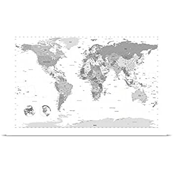 Amazon michael tompsett poster print entitled world map black michael tompsett poster print entitled world map black and white gumiabroncs Images