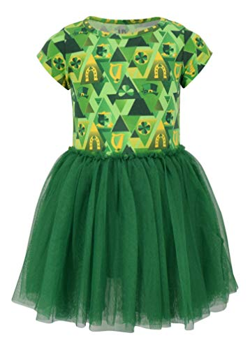 Unique Baby Girls St Patricks Day Clover Print Tutu Dress (3T, Green)