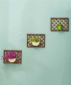 LLDHUAJIA LIANGLIANG Carbonizado de Madera Maciza de Pared de Flores de Rack de Decoración de la Pared de Balcón Colgante de Flores Estante de pote (Tamaño : 3 Pieces)