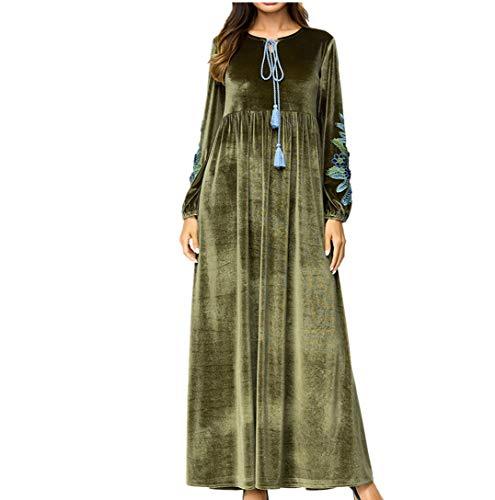Le Ramadan Zhbotaolang Elegante Allentato Islamico Verde Casual Musulmano Abaya Abito Abbigliamento Donne dqrqT