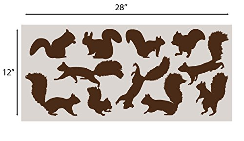 Squirrel Wall Decal Nursery Sticker Set Add To Tree Wall Decals Decor For Kids Rooms #1250 (12 Squirrel Decals Included) (Matte Brown)