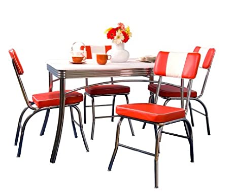 TMS 5 Piece Brimingham Retro Dining Set, Red