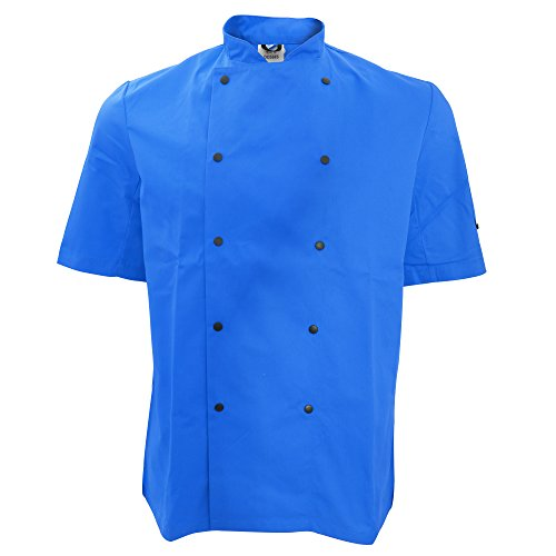 Dennys Unisex Short Sleeve Stud Button Chef Jacket (2XL) (Royal) by Denny's