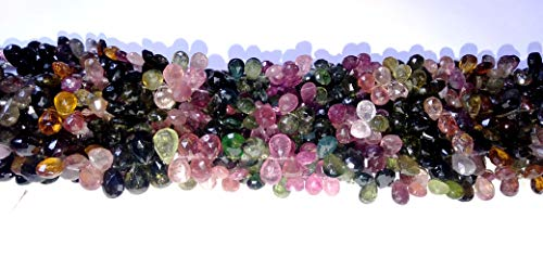 1 Strand Natural Multi Tourmaline Faceted Tear Drop Beads, AAAA Multi Tourmaline, Tourmaline Necklace, 5x7mm-7x9mm 4 -