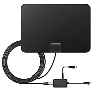 TV Antenna USB Power Supply HDTV Antenna with Detachable Amplifier Signal Booster 50 Mile Range Amplified and 10 Feet Highest Performance Coaxial Cable-Black