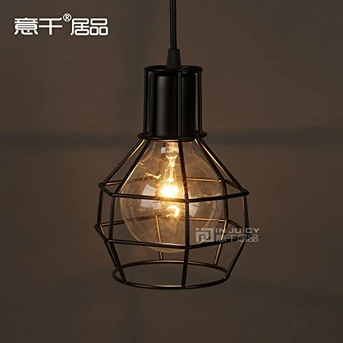 Injuicy Lighting Industrial Vintage Edison Ceiling Lamp Pendant RH Loft Metal Cage Light 1-Pendant Gold Sliver Black White Black