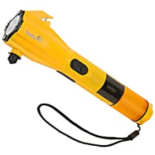 Ivation Dynamo Rainproof LED Flashlight, SOS Strobe, Windshield Hammer, Seatbelt Cutter, Compass, Mobile Device Charger – Charges via USB or Crank Handle