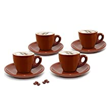 Cuisinox CUP-455BR Set of 4 Porcelain Cappuccino Cups, Brown