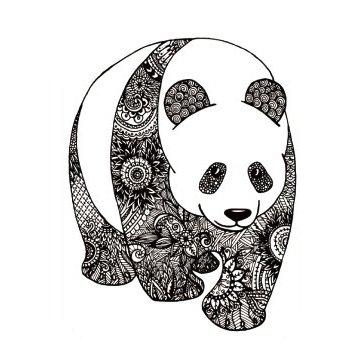 Oottati Panda Flower Totem Old School Thighs Calf Black Arm Temporary Tattoo