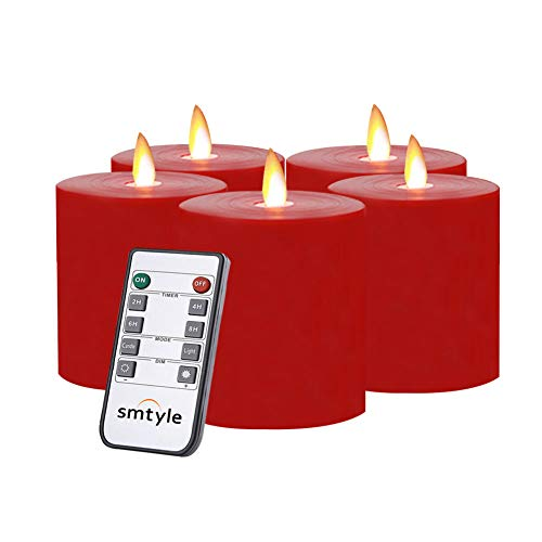 smtyle Red Flameless Candles Flickering Realistic Bright Pillar Candle Light with Remote Control Timer Battery Operated 3x3 in Set of 5