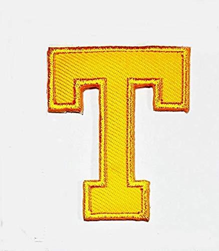 Yellow Letter T Patch Logo Sew On Patch Clothes Bag T-Shirt Jeans Biker Badge Applique