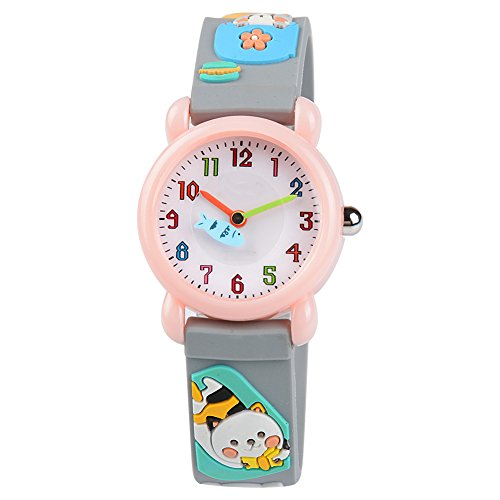 Venhoo Kids Watches Cartoon Waterproof Silicone Children Wristwatches Time Teacher Gifts for Girls (Gray -