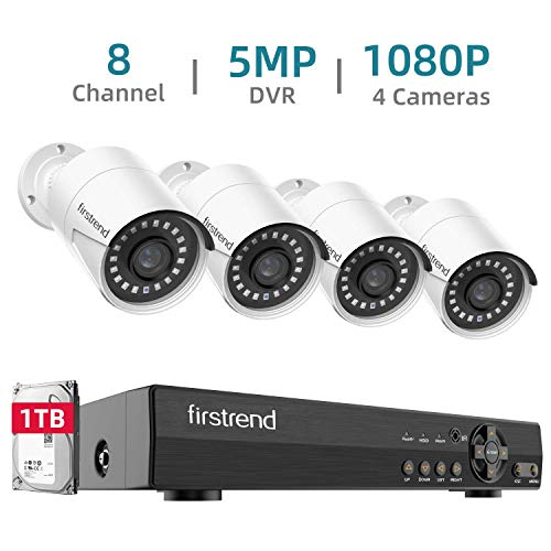 Security Camera System,Firstrend 8 Channel 1080P HD Home DVR Surveillance System with 4pcs Video Cameras and 1TB HDD Outdoor Indoor Night Vision Motion Detection