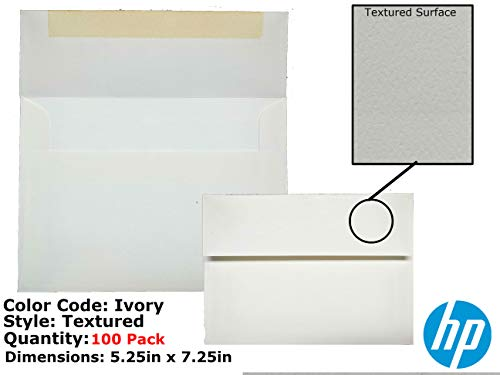 """Premium A7 Traditional Adhesive Textured Invitation Envelopes (5.25"""" x 7.25"""") - Off-White, Ivory (Bundle)