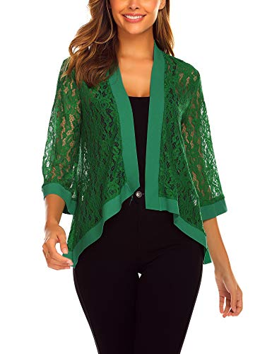 (Dealwell Women's Lace Cardigan Lightweight 3 4 Sleeve Dressy Shrug Summer Jacket Dark Green, Small)
