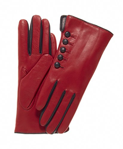 Fratelli Orsini Women's Italian Cashmere Lined Gloves with Buttons Size 6 1/2 Color Red/Black