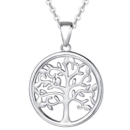 Agvana 925 Sterling Silver Tree of Life Pendant Necklace Minimalist Jewelry Gifts for Women Girls with Gorgeous Gift Box, 16