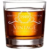 1949 70th Birthday Gifts for Women and Men Whiskey Glass | Funny Vintage 70 Year Old | Anniversary Gift Ideas Him Her Dad Mom Husband Wife | 11 oz Whisky Bourbon Glasses | Party Supplies Decorations