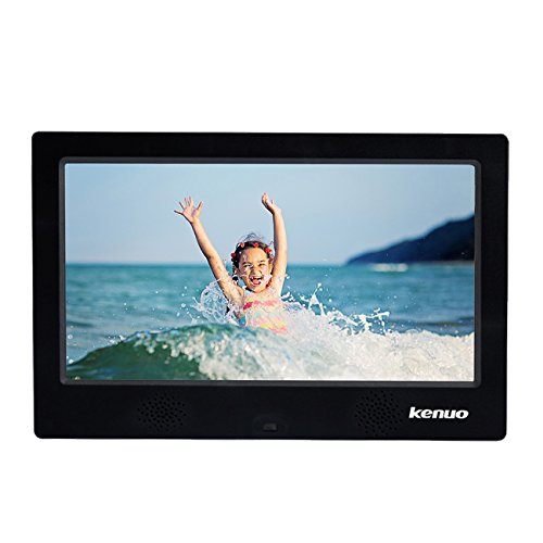 Digital Photo Frame 10 inch Kenuo High HD 1024x600(16:9) IPS Eletronic Picture Frame with Video Player Stereo MP3 Calendar Auto On/Off Timer Black by Kenuo