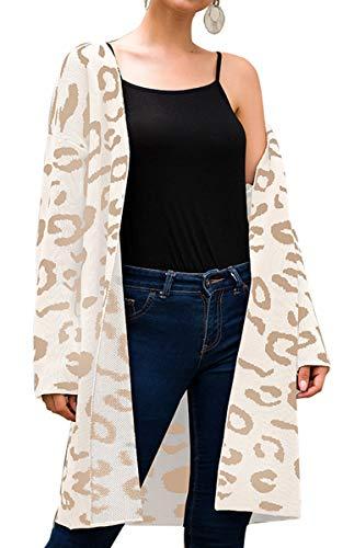(Angashion Women's Long Sleeves Leopard Print Knitting Cardigan Open Front Warm Sweater Outwear Coats 318Beige S)