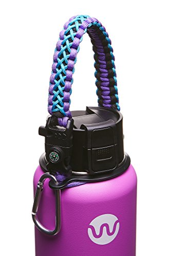 WaterFit Paracord Carrier Strap Cord with Safety Ring and Carabiner for 12-Ounce to 64-Ounce Wide Mouth Water Bottles, (Flask Accessories)