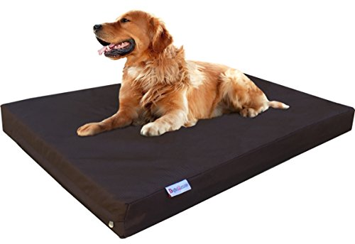 Dogbed4less XL Orthopedic Gel Infused Cooling Memory Foam Dog Bed for Medium to Large Pet, Waterproof Liner and Heavy Duty 1680 Ballistic Seal Brown External Cover, 47X29X4 Inches
