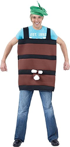 Stag Night Fancy Dress Party Play German Beer Barrel Costume Outfit Size (Beer Barrel Costume)