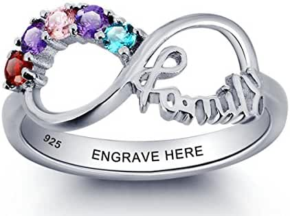 Personalized Mothers Ring with 5 Birthstones and 1 Engraving