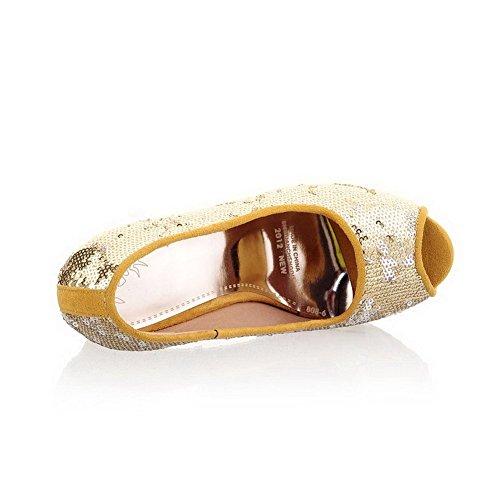 AllhqFashion Mujeres Peep Tacón ancho Sólido Sin cordones Sandalia Gold