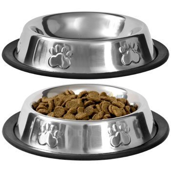 Pet Food Bowl Stainless Steel Non Skid Pet Paws Doodler Dish Is Perfect for a Small Dog Cat Kitten Puppy (2 bowls per order) By (Kitten Dish)
