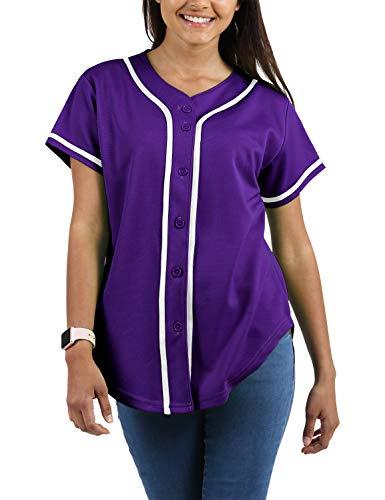Ma Croix Womens Baseball Button Down Baseball Short Sleeve Tee Active Softball Jersey ()
