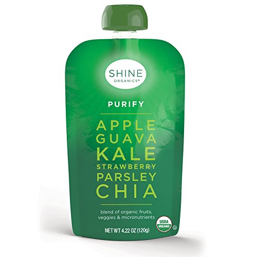 (SHINE Organics, Purify, Apple, Guava, Kale, Strawberry, Parsley, Chia, 4 Pouches, 4.22 oz (120 g) Each - 2PC)