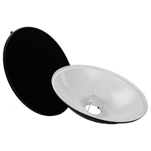 Fotodiox Pro Beauty Dish 28'' Kit with Honeycomb Grid and Speedring for Elinchrom Monolights, Prolinca Strobe Light and more