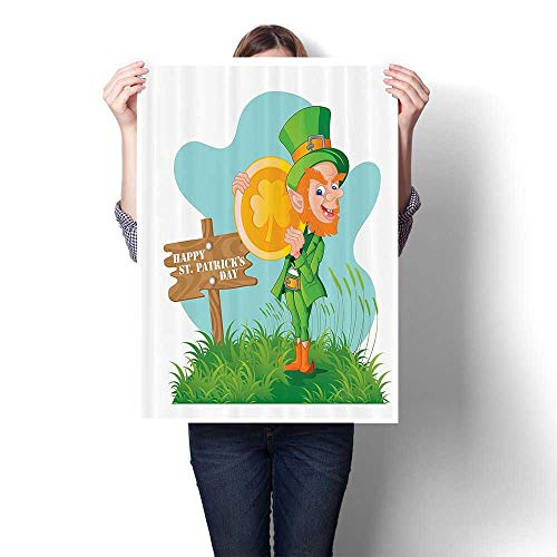 (SCOCICI1588 DIY 3D Painting Festive Leprechaun with Costume Holding Large Shamrock Gold Coin Hill Home Wall Decor,24