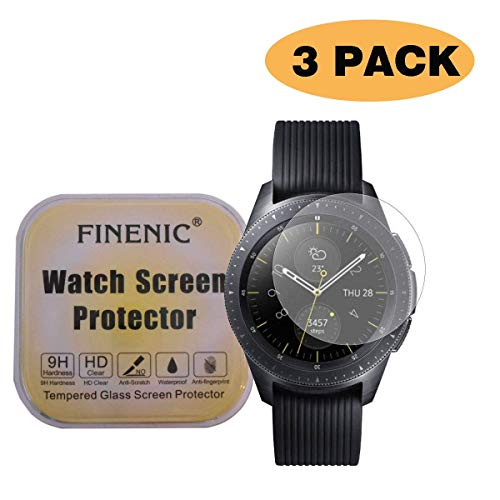 FINENIC【3-Pack】 Compatible for Samsung Galaxy Watch (46mm) / Gear S3 Frontier Samsung smartwatch Tempered Glass Screen Protector.[9H Hardness] [Crystal Clear] [Bubble Free Installation]