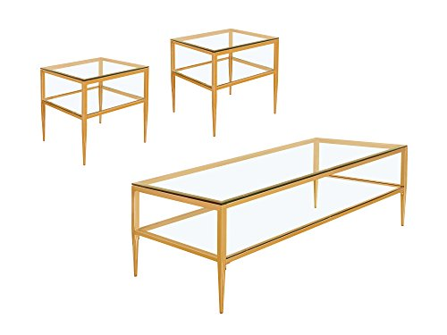 Shelve Cocktail Table Set (HOMES: Inside + Out Iohomes Perlah Champagne Frame Dual Glass Shelf 3Piece Coffee Table Set, Gold)