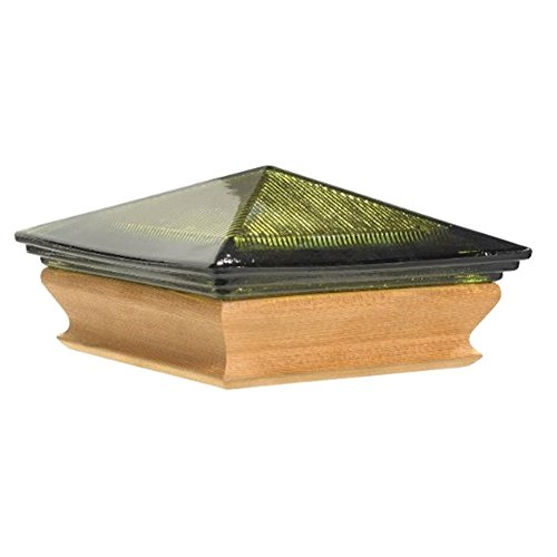 Woodway Glass Post Cap 4 x 4 – Glass Pyramid with Cedar Wood Base Outdoor Post Cap for Garden, Deck and Patio, Green, 1 PC