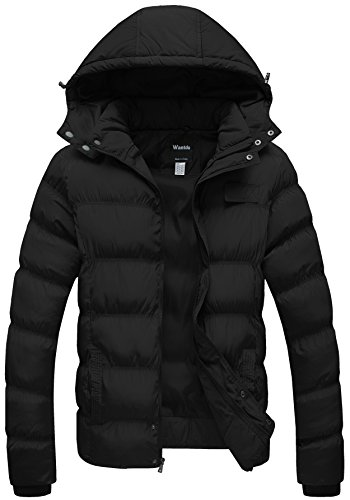 Thicken Cotton Coat Puffer Jacket with Removable Hood US X-Large Black (Men Winter Coats)