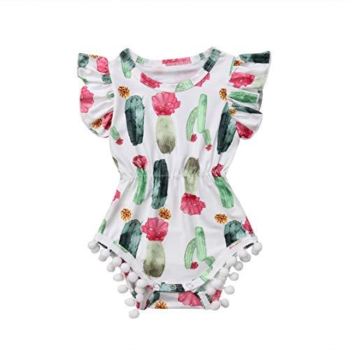 CQHY MALL Cute Newborn Unisex-Baby Cactus Print Romper Sleeveless Jumpsuit Romper Girls Boys Bodysuits Summer Snapsuit,0-3Y (3-9 Months, White Cactus Ruffle Tassel Romper)