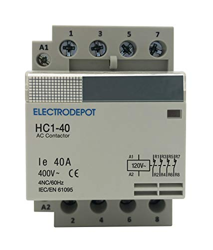 4 Pole Normally Closed IEC 400V Contactor (Silent Operation) – 110/120VAC Coil, Inductive 20A, Resistive 40A with Mounting Base for DIN Rail ()