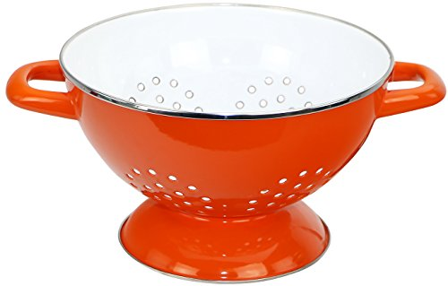 Calypso Basics by Reston Lloyd Heavy Gauge Enamel on Steel Two-Tone Colander, Orange, 3 Quart