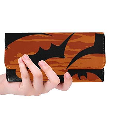 Unique Custom Halloween Wallpaper Women Trifold Wallet Long Purse Credit Card Holder Case Handbag