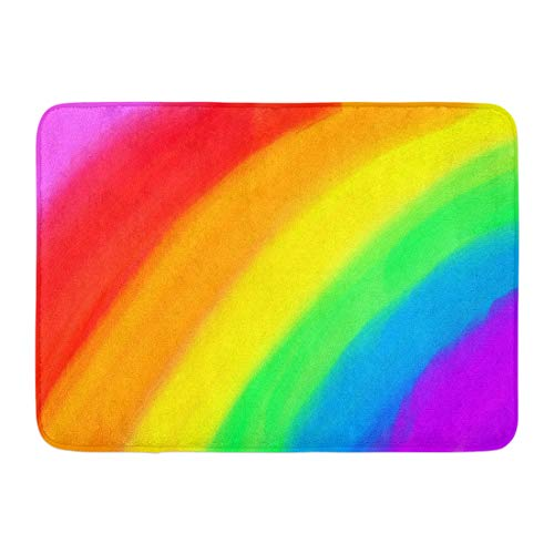- Emvency Bath Mat Orange Blue Color Basic Child's Drawing Colorful Rainbow Crayon Oil Paint Realistic Green Primary Bathroom Decor Rug 16
