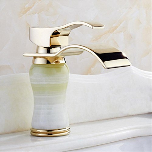 high-quality GAOF Newly Art Bowl der Jade Bathroom Basin Faucet Brass Mixer Tap Golden Waterfall Faucets L-001B Faucet , 1